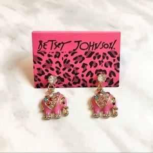 🎉 NWT Betsey Johnson Crystal Elephant Stud Earrings